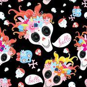Cool pattern funny skulls Stock Illustration