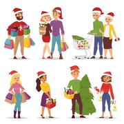 Christmas shopping people vector Piirros