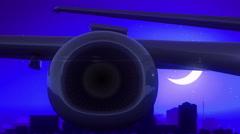 Lincoln Nebraska USA America Airplane Take Off Moon Night Blue Skyline Travel Stock Footage