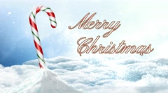 Candy Cane in Snow Merry Christmas 4K Stock Footage