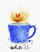 Teacup white tea Stock Illustration