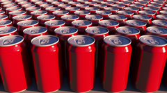 Red cans with no logo at sunset. Soft drinks or beer for party. Recycling Stock Footage