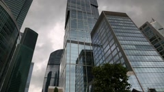 View of skyscrapers of the International Business Center in Moscow Stock Footage