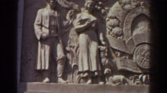 1939: a stone sculpture carved on the side of a building NEW YORK WORLDS FAIR Stock Footage