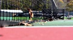 Close Up Establishing Shot of Tennis Court net in autumn Stock Footage