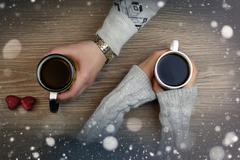 Hand coffee background couple Stock Photos