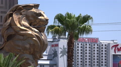 Las Vegas MGM Lion and Hooters Stock Footage