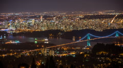 Time lapse of lions gate bridge at night Stock Footage