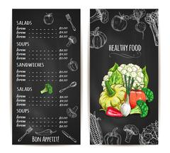 Vegetarian healthy food menu chalk sketch Stock Illustration