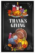 Thanksgiving Day greeting holiday banners Stock Illustration