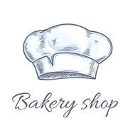 Baker hat vector sketch for bakery shop emblem Stock Illustration