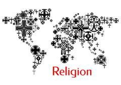 Religion world map with christianity cross symbols Stock Illustration