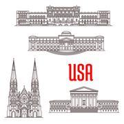 Architecture landmarks of USA Stock Illustration