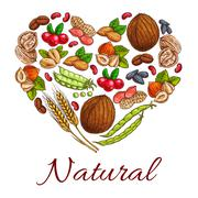 Healthy nuts, grain, berries icons in heart shape Stock Illustration