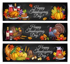 Happy Thanksgiving Day greeting banners Stock Illustration