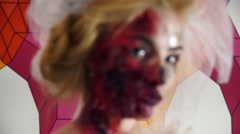 Focus is on the face of a dead bride image for Halloween Stock Footage