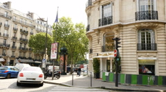 Luxury Paris building with luxury limouse offroad jeep Stock Footage