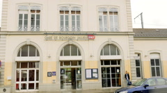 French train station of Bourgon-Jaillieu France Stock Footage