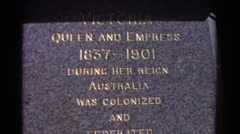 1967: tombstone of queen with golden engraved words PERTH AUSTRALIA Stock Footage