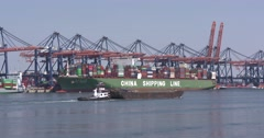 Large container ship CSCL China at Container Terminal Stock Footage
