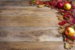Border of apples, acorns, red berries and fall leaves on the old wooden backg Stock Photos
