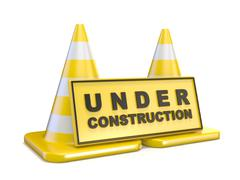 Yellow UNDER CONSTRUCTION sign and two road cones Stock Illustration