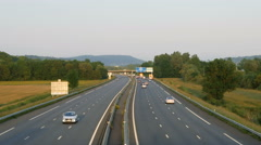 Aerial view of French highway autoroute Stock Footage