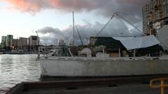 Honolulu waterfront panorama Stock Footage