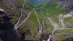 Aerial view of world famous mountain road Trollstigen Stock Footage