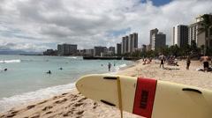 Waikiki Beach Skyline Stock Footage