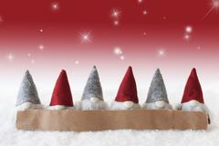 Gnomes, Red Background, Stars, Copy Space Stock Photos
