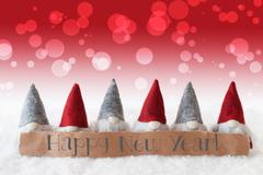 Gnomes, Red Background, Bokeh, Text Happy New Year Stock Photos