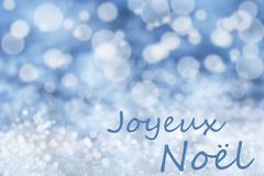 Blue Bokeh Background, Snow, Joyeux Noel Mean Merry Christmas Stock Illustration