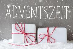 Two Gifts With Snowflakes, Adventszeit Means Advent Season Stock Photos