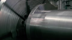 Milling metalworking process. Industrial CNC machining of metal detail by Stock Footage