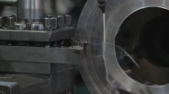 Rolls of steel sheet in a warehouse, metal processing on modern factory Stock Footage