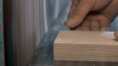 Man Using a Table Saw to cut wood, grinding on modern furniture factory Stock Footage