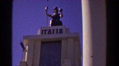 1939: italia statue and waterfall NEW YORK WORLDS FAIR Stock Footage