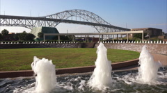 Corpus Christi Harbor Bridge and Water Fountains at Bayfront Science Park Stock Footage