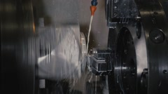 Metalworking CNC milling machine. Cutting metal modern processing technology Stock Footage