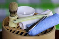 Shaving accessories danger Stock Photos