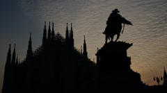 Milan Cathedral and Vittorio Emanuele II statue Stock Footage