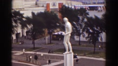 1939: a huge statue standing in the middle of the city. NEW YORK WORLDS FAIR Stock Footage