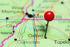 Oxford pinned on a map of Mississippi, USA Stock Photos