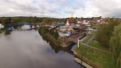 Rising aerial view of Stourport-on-Severn. Stock Footage