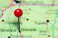 Grenada pinned on a map of Mississippi, USA Stock Photos