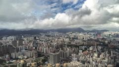 Aerial view skyscrapers of Hong Kong city. 4K TimeLapse - August 2016, Hong Kong Stock Footage