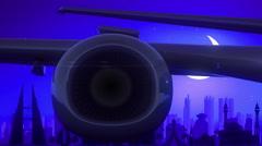 Manama City Bahrain Airplane Take Off Moon Night Blue Skyline Travel Stock Footage