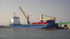 Cargo Ship Docked in Port Corpus Christi Harbor Stock Footage