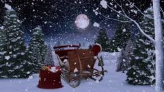 Santa's Sleigh in the Moonlit Pines 4K Stock Footage